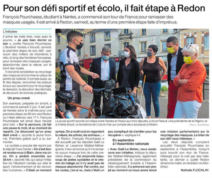 Ouest France - Pour son défi sportif et écolo, il fait étape à Redon